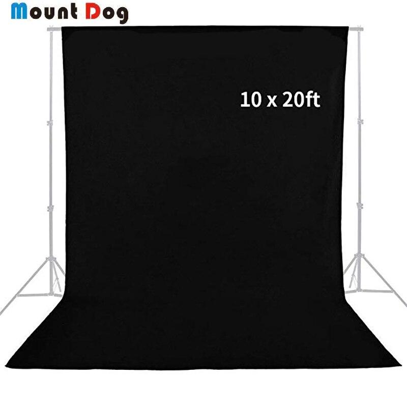 MOUNTDOG 3 m x 6 m professionnel noir Photo Studio mousseline toile de fond photographie coton Chromakey fond d'écran pour Photo