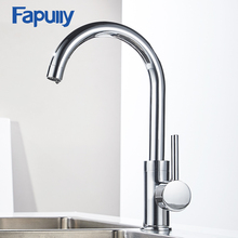 Fapully Kitchen Faucet Mixer Taps Deck Mounted Polished Chrome Brass Single Hole Sink 360 Degree Rotation Contemporary Vessel