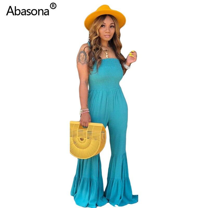 Abasona New Solid Sleeveless Spaghetti Strap Flares Full Length Loose Jumpsuit Fashion Casual Beach Bodysuit Rompers Womens(China)