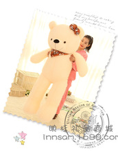huge lovely beige teddy bear toy big plush scraf and bow teddy bear doll gift about 160cm
