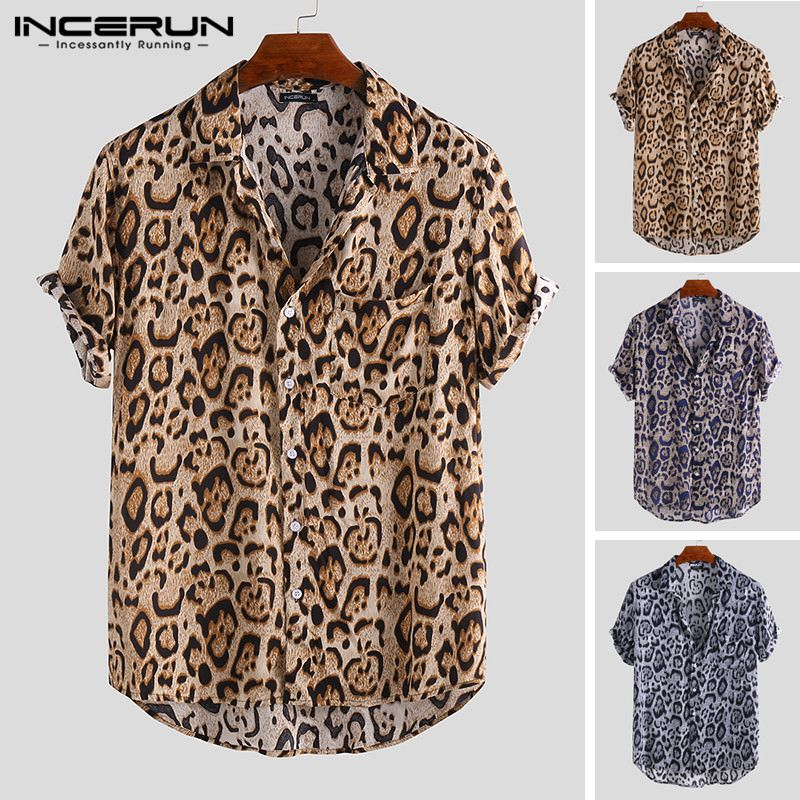 2019 Summer Leopard Print Men Brand Shirt Short Sleeve Button Breathable Loose Beach Hawaiian Shirt Men Streetwear New INCERUN