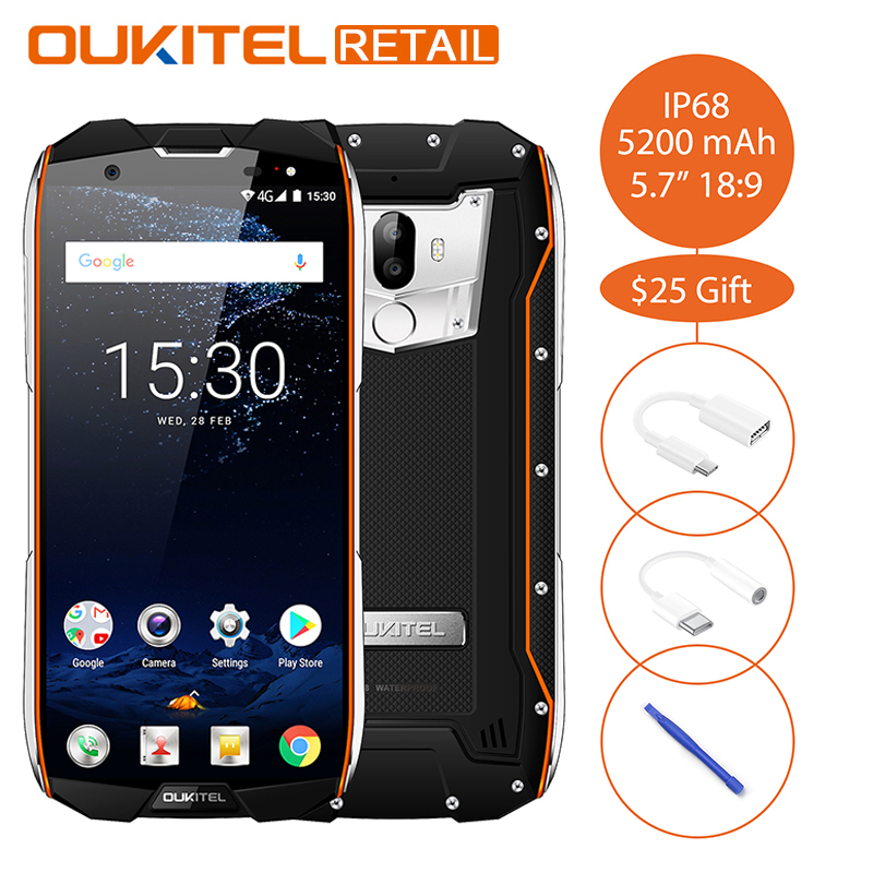Oukitel WP5000 IP68 Waterproof 5.718:9 Mobile Phone Android 7.1 Helio P25 Octa Core 6GB 64GB 5200mAh Fingerprint 4G Smartphone