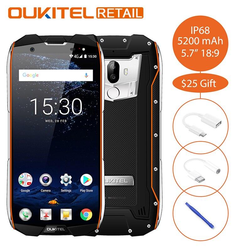 Oukitel WP5000 IP68 Waterproof 5.718:9 Mobile Phone Android 7.1 Helio P25 Octa Core 6GB 64GB 5200mAh Fingerprint 4G Smartphone