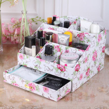 Fashion cosmetics desktop storage box with drawer wooden Large imitation leather dressing