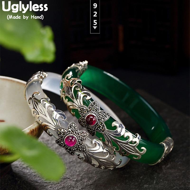 Uglyless 925 Silver Plum Blossom Ruby Bracelets Chalcedony Bangles for Women Ethnic Vines Thai Silver Jade