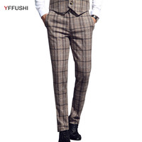 YFFUSHI 2018 New Autumn Pants Men Full Length Trousers Men Business Casual Khaki Green Classic Plaid