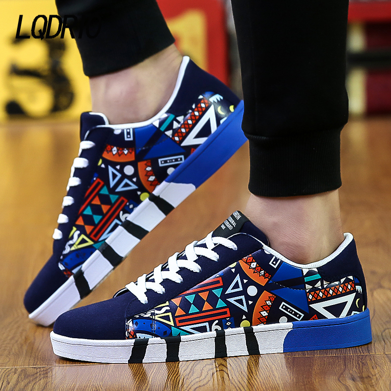 Fashion Men Casual Shoes Sport Air Mesh Breathable Trainers Basket Zapatillas Male Walking Flat Printed Mixed