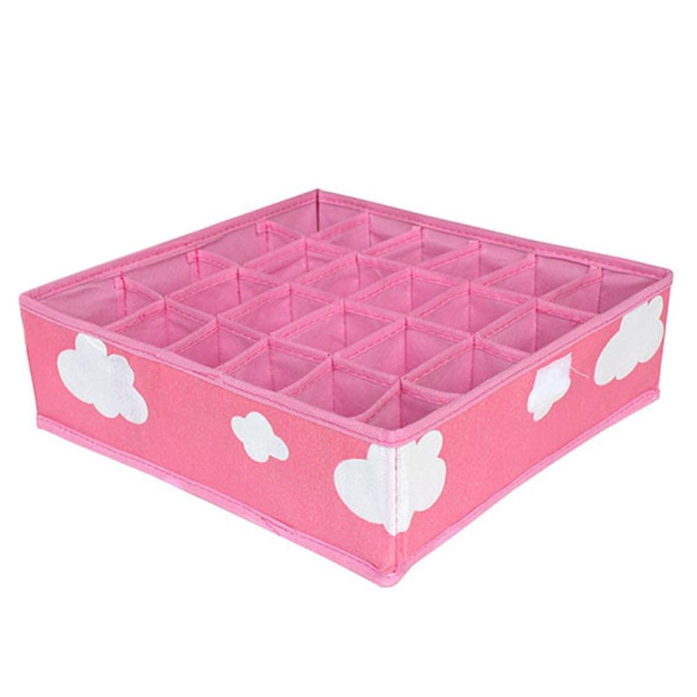 New Non Woven Fabric Folding Underwear Storage Box Bedroom: 3 In 1 Pink Storage Boxes Organizer For Underwear Bra