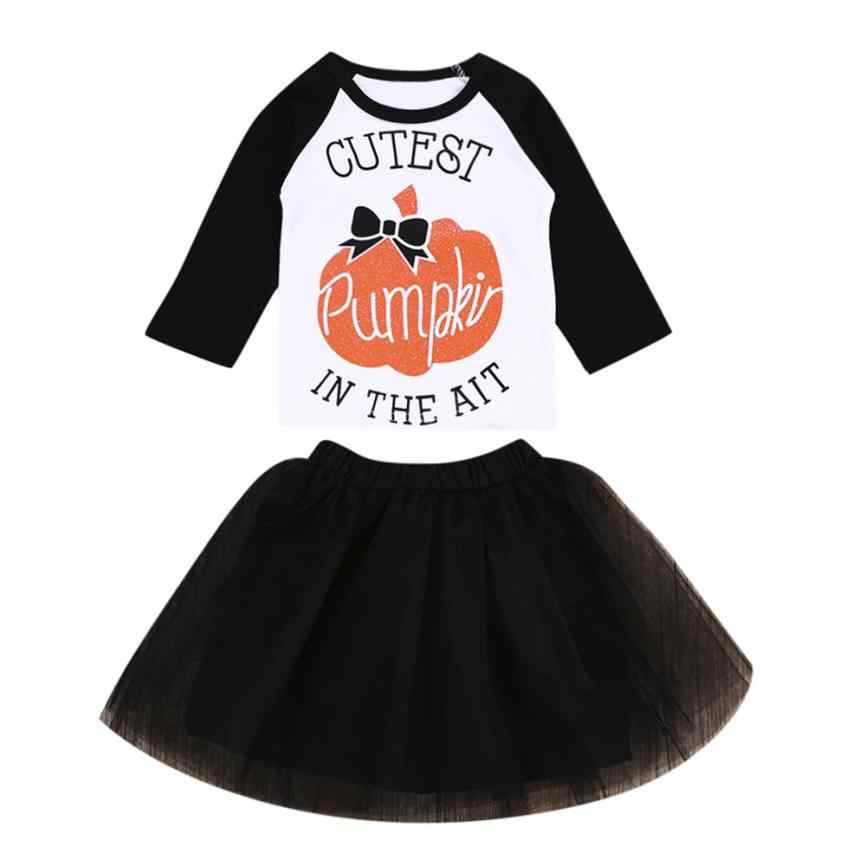 fed6014dfdc0 ... Baby Girl Clothes Newborn Winter Set Halloween Pumpkin Tops+Tutu Skirt  Casual Patry Baby Clothes ...