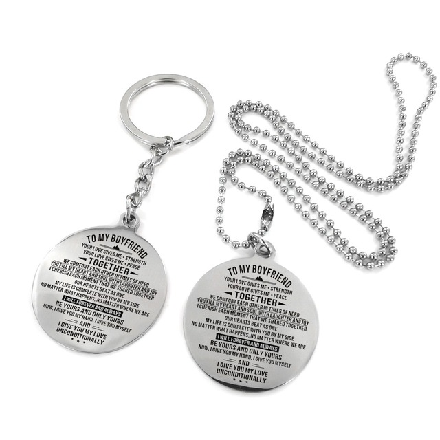 To My Boyfriend Engraved Stainless Steel NecklaceKeyChain Wonderful Gift Birthday Anniversary Military Dog Tags Couple Key