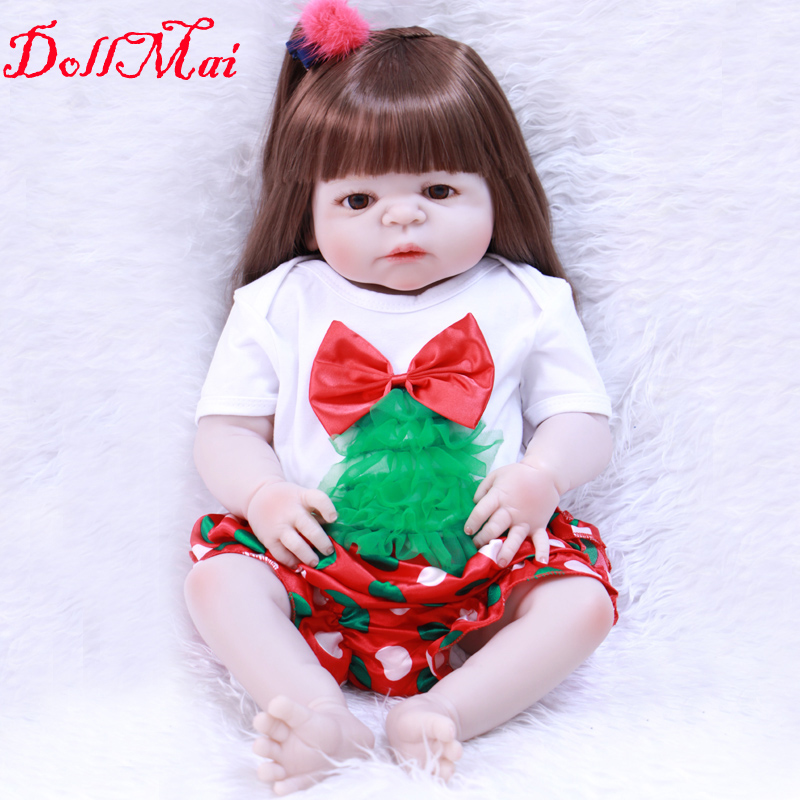 """DollMai reborn babies girl dolls 22""""full silicone reborn baby dolls rooted fiber hair with pacifier bottle bebe realistic reborn"""