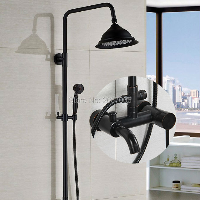 Free shipping Newly Discount Shower Set Bathroom Rainfall Shower Black Oil Rubbed Bronze Hot Cold Mixer Shower Faucet Set GI304