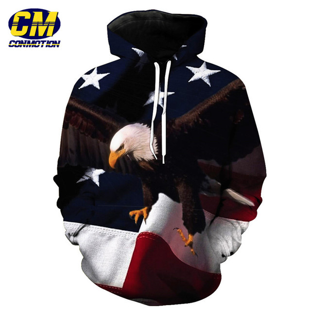 ConMotion Flying Eagle American Flag Printing Hoodies Men Women Sweatshirts EUR SIZE