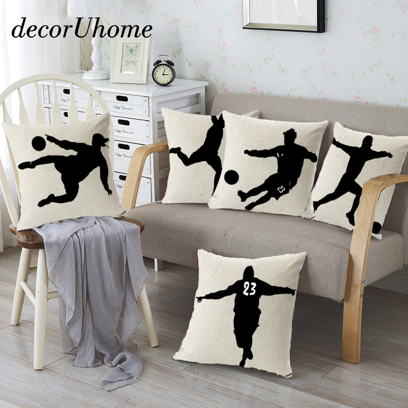 US $3.38 28% OFF|decorUhome Nordic Sports Linen Pillow Case Play Football  Cushion Cover Decorative Throw Pillow Covers Sofa Cover Home Decor-in ...