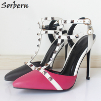 Sorbern Sexy T Straps Pointed Toe Ladies Shoes Size 12 Women Heels Rivets Hot Sale Shoes Women 12Cm Stilettos Heel Custom Colors