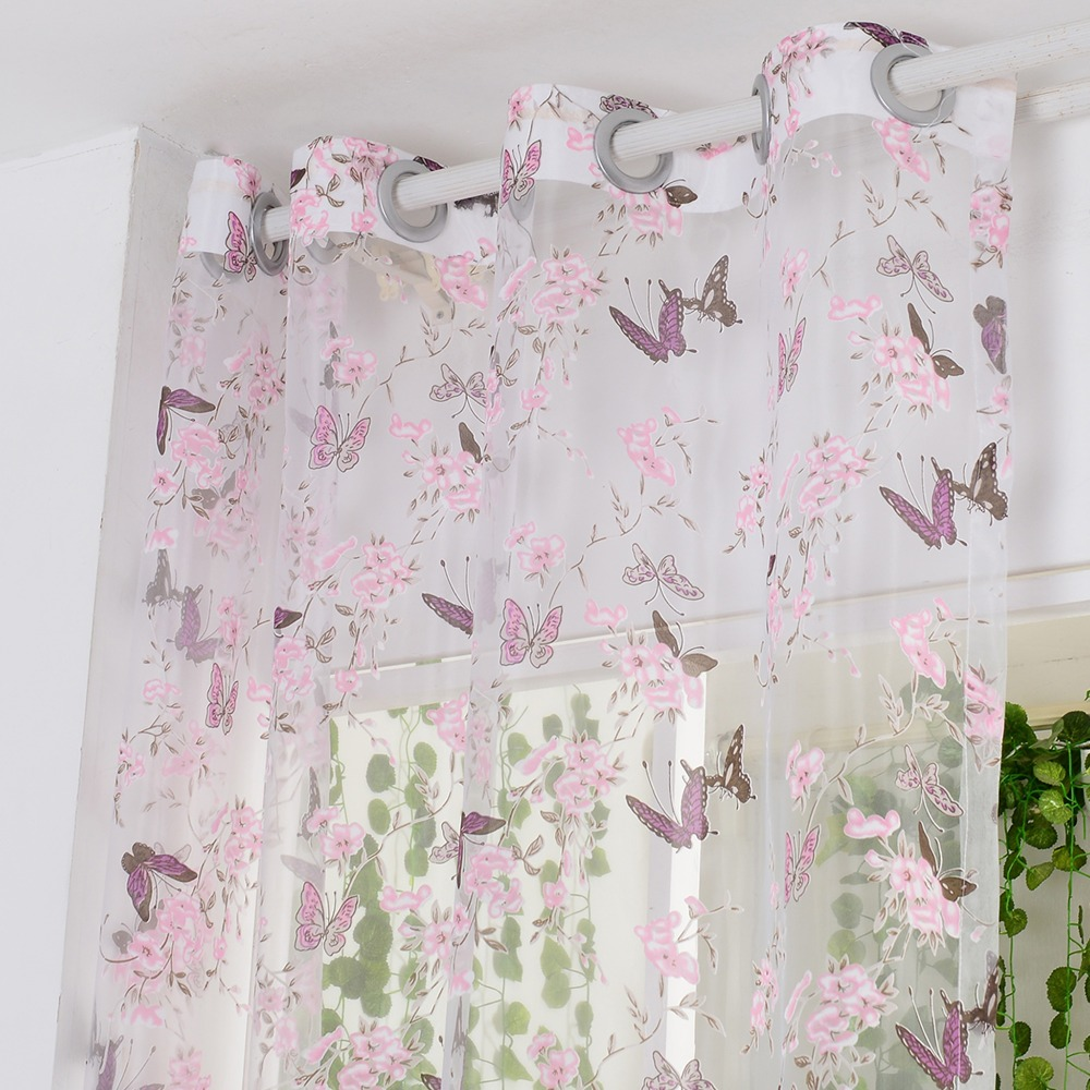 Purple butterfly curtains -  Curtain Purple Butterfly Burnout Tulle Voile Fabric Download