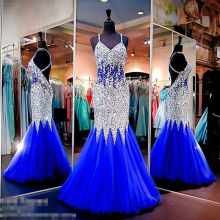 Royal Blue Mermaid Open Back Strass und Pailletten Sparkly Nixe-abschlussball Backless Luxus Formal Abendkleid