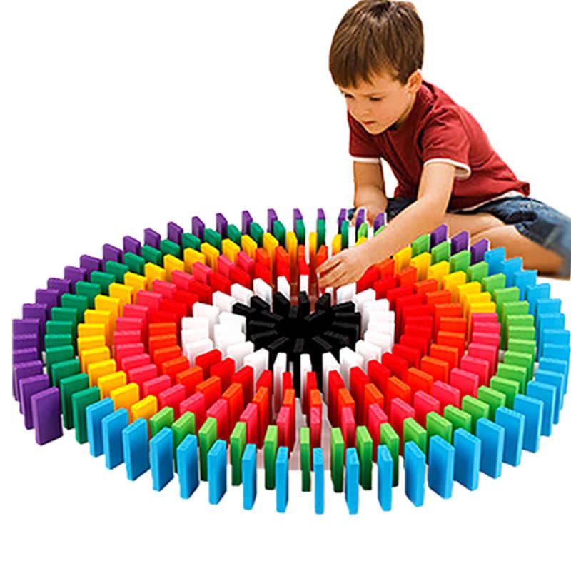 100 120 240 360 480 шт Игра домино игрушки Детские деревянные игрушки цветные домино развивающие строительные блоки DIY игрушки подарок для детей