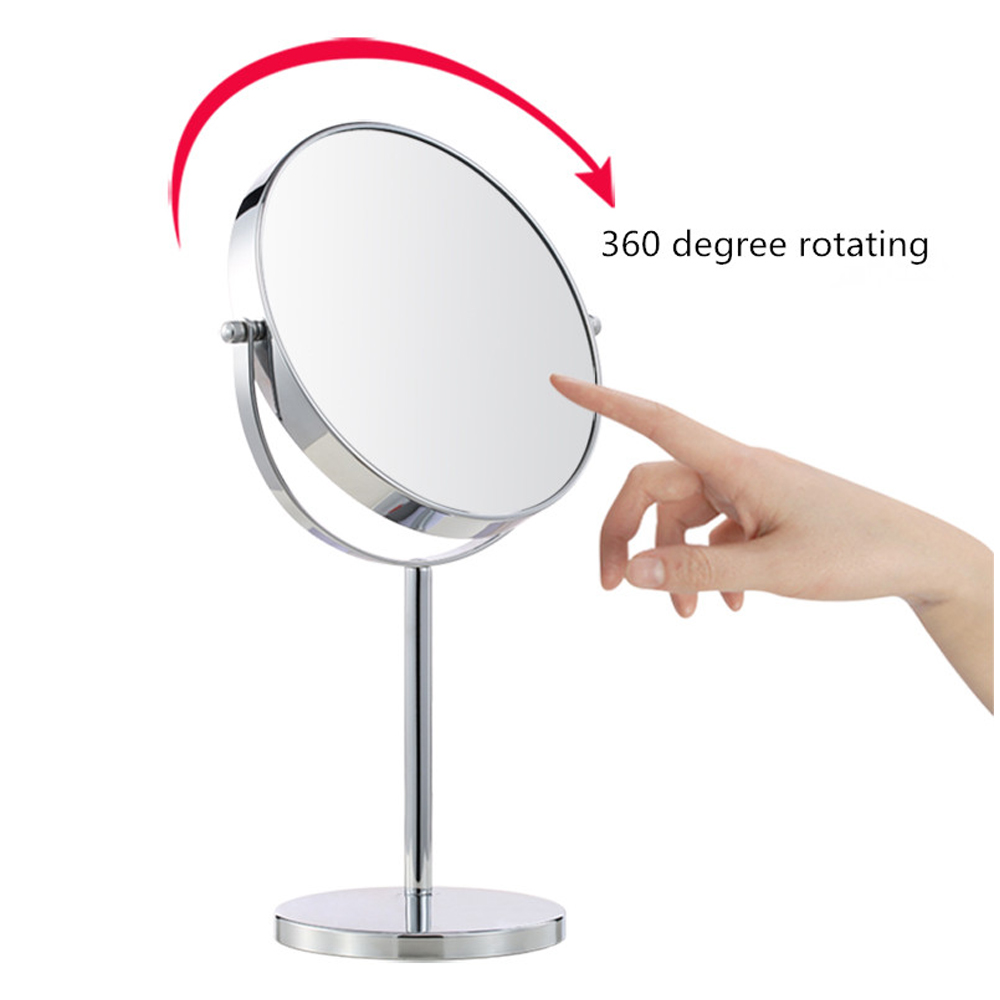 ФОТО Vanity Makeup Mirror Professional Cosmetic Makeup Mirror 5x Magnifying Circular Double Sided Adjustble 360 Rotating Portable