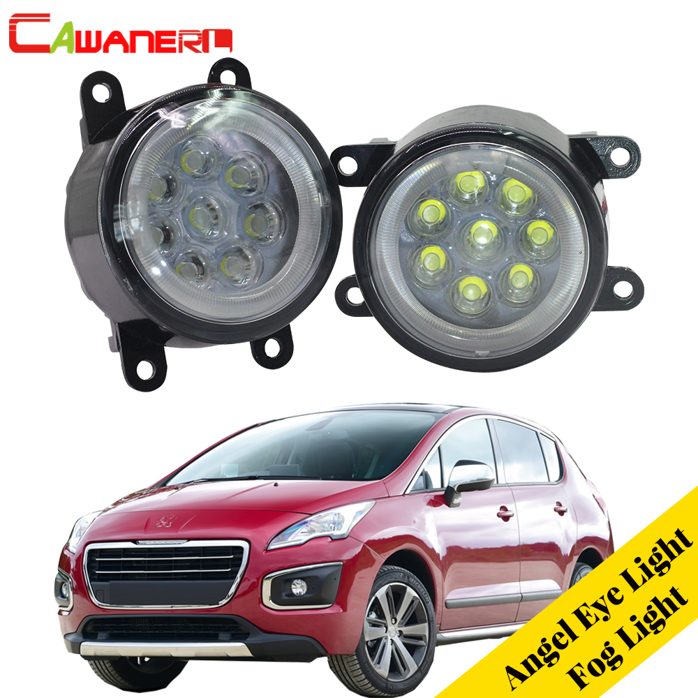 Cawanerl 2 X Car LED Fog Light Lamp Angel Eye DRL Daytime Running Light 12V Styling For 2009-2013 Peugeot 3008 MPV car styling daytime running light 2013 for honda crz led fog light auto angel eye fog lamp led drl high