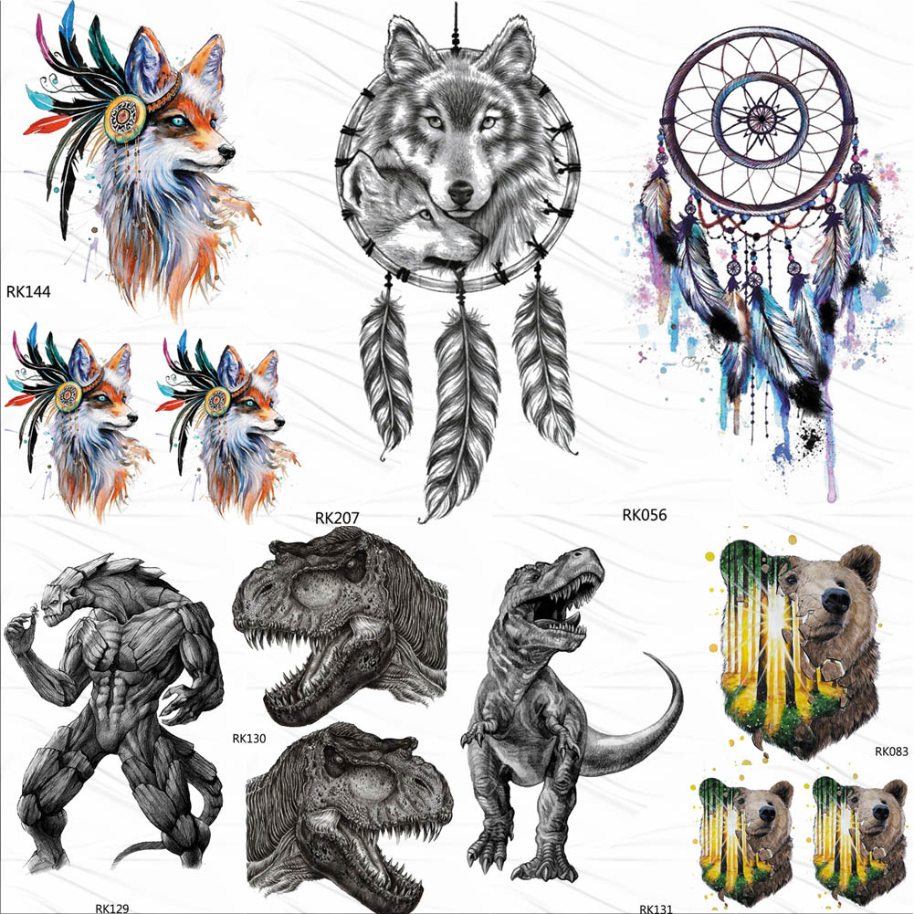 OMMGO Tribal Wolf Dreamcatcher Temporayr Tattoos Waterproof Flash Fox Tatoo Dinosaur Body Art For Men Women Fake Tattoo Stickers