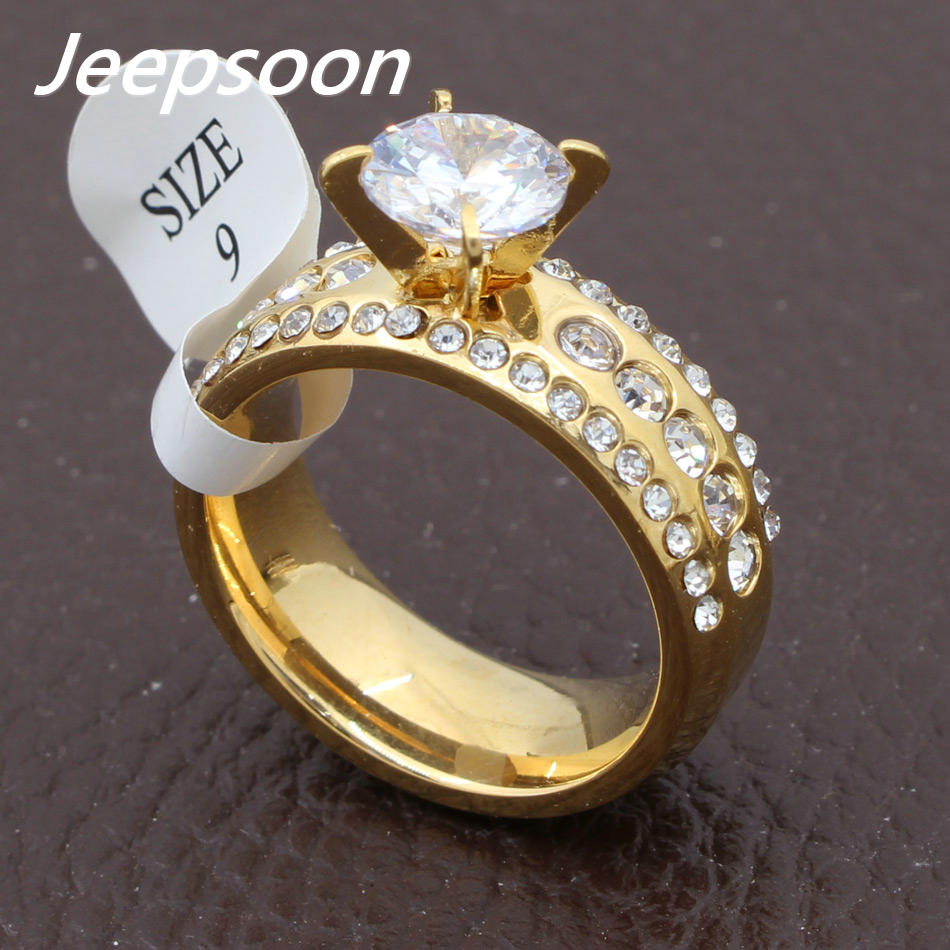 wholesale fashion jewelry stainless steel beautiful crystal wedding rings for women rbjdehbcchina mainland - Most Beautiful Wedding Rings