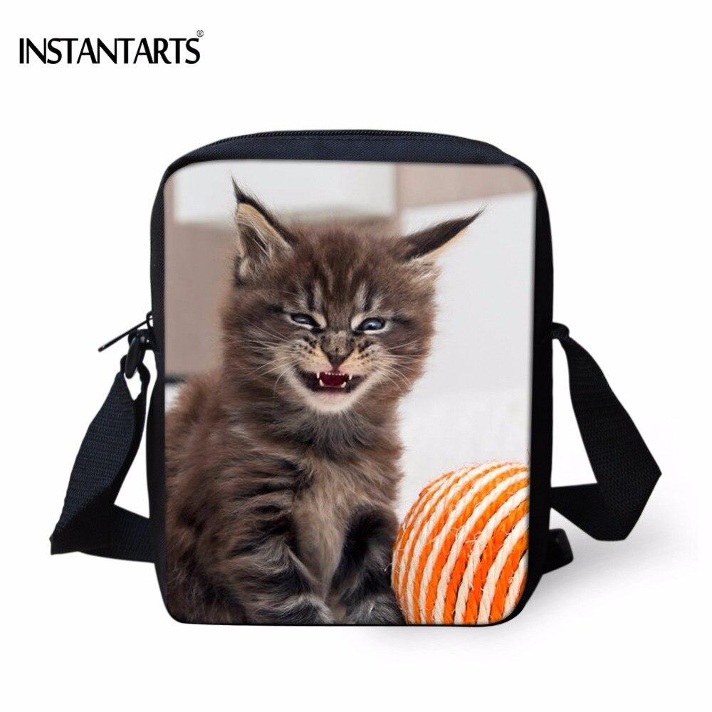 INSTANTARTS Funny Smile Cat Maine Coon Print Boys Girls Mini School Bags Casual Kindergarten Schoolbags Kid School Shoulder Bags