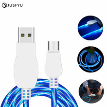 USB Cable Micro Flowing LED Glow Charging Data Sync Mobile Phone Cables For iPhone Android Samsung Huawei Xiaomi LG