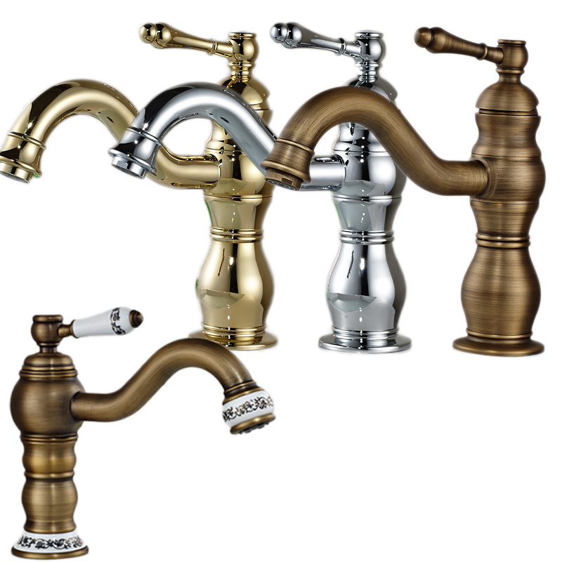 4 style wholesale and Retail Bathroom Brass Basin Faucet Long Spout Deck Mounted Washbasin Mixer Taps