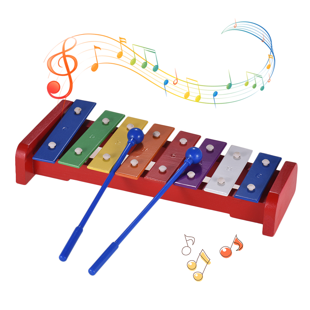 Colorful 8 Notes Xylophone Musical Toy Glockenspiel With 2 Mallets Musical Percussion Instrument Gift For Kids Children