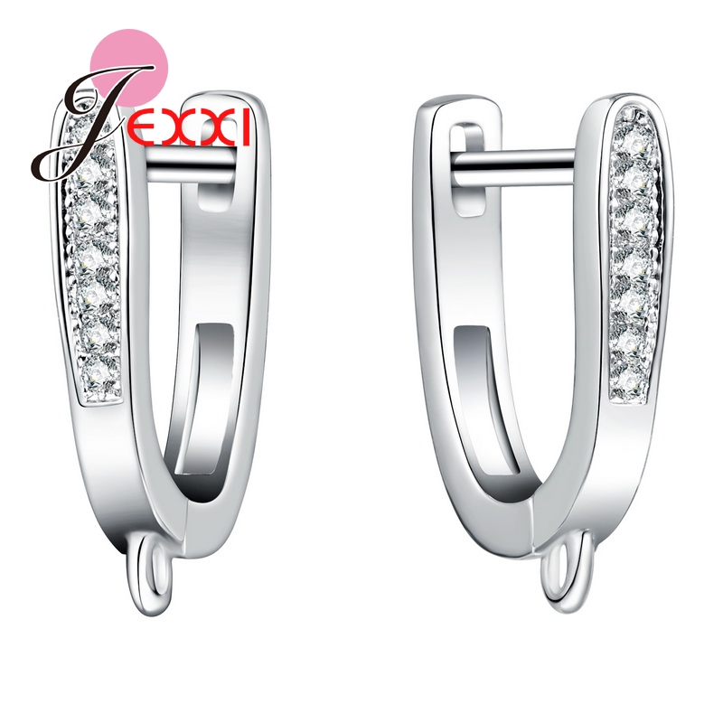 JEXXI Free Shipping Wholesale White Gold Plated Hook Earring DIY Jewelry Finding Accessories With High Quality CZ Diamond