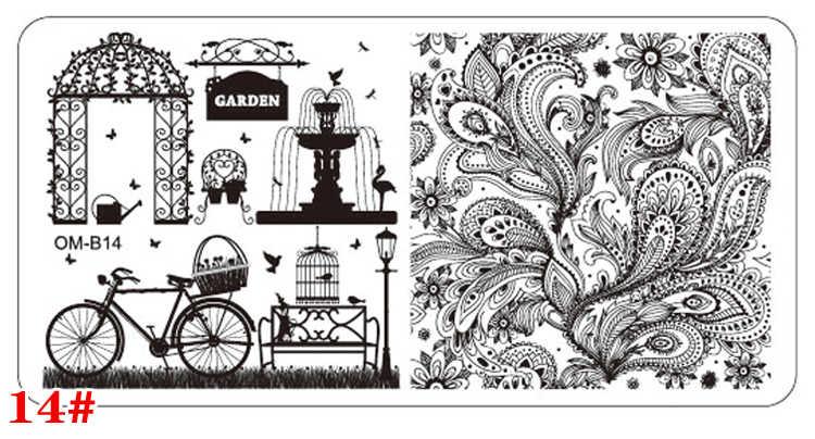 MANZILIN OM-B01-20 Yenİ 6X12 cm Dikdörtgen Tırnak Damgalama Plakaları Çiçek Dantel Tasarım Nail Art Polonya Damga Şablon Manikür araçları