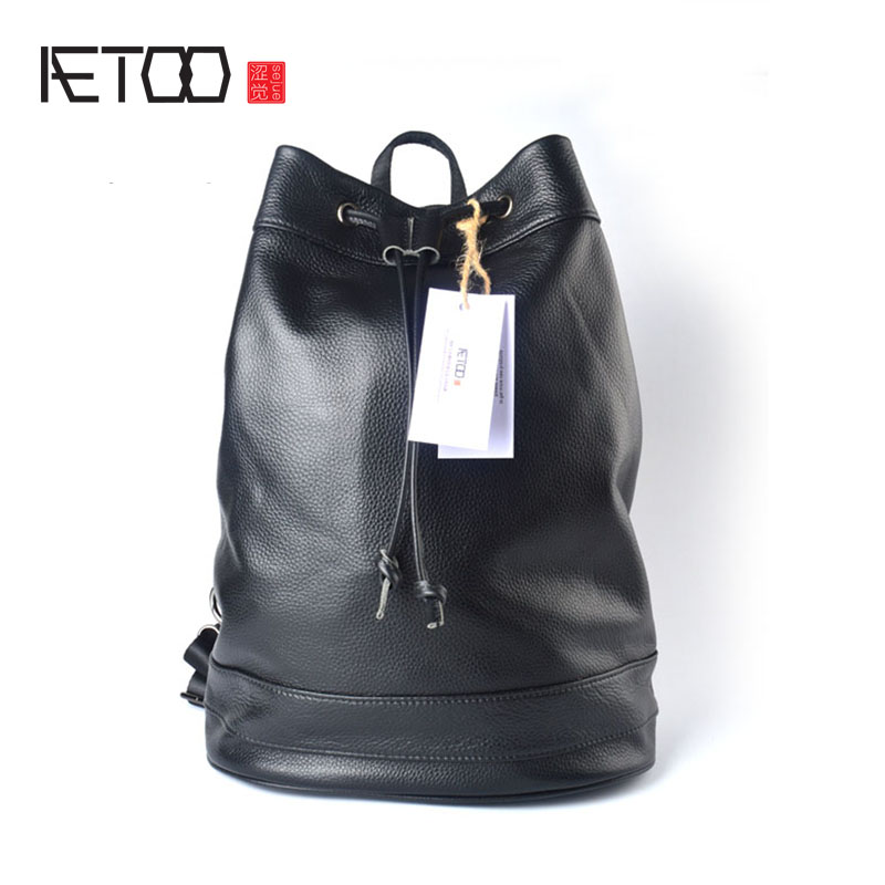 AETOO Shoulder bag male leather backpack litchi furrow layer leather leisure computer bag men and women tide package travel bag azorno