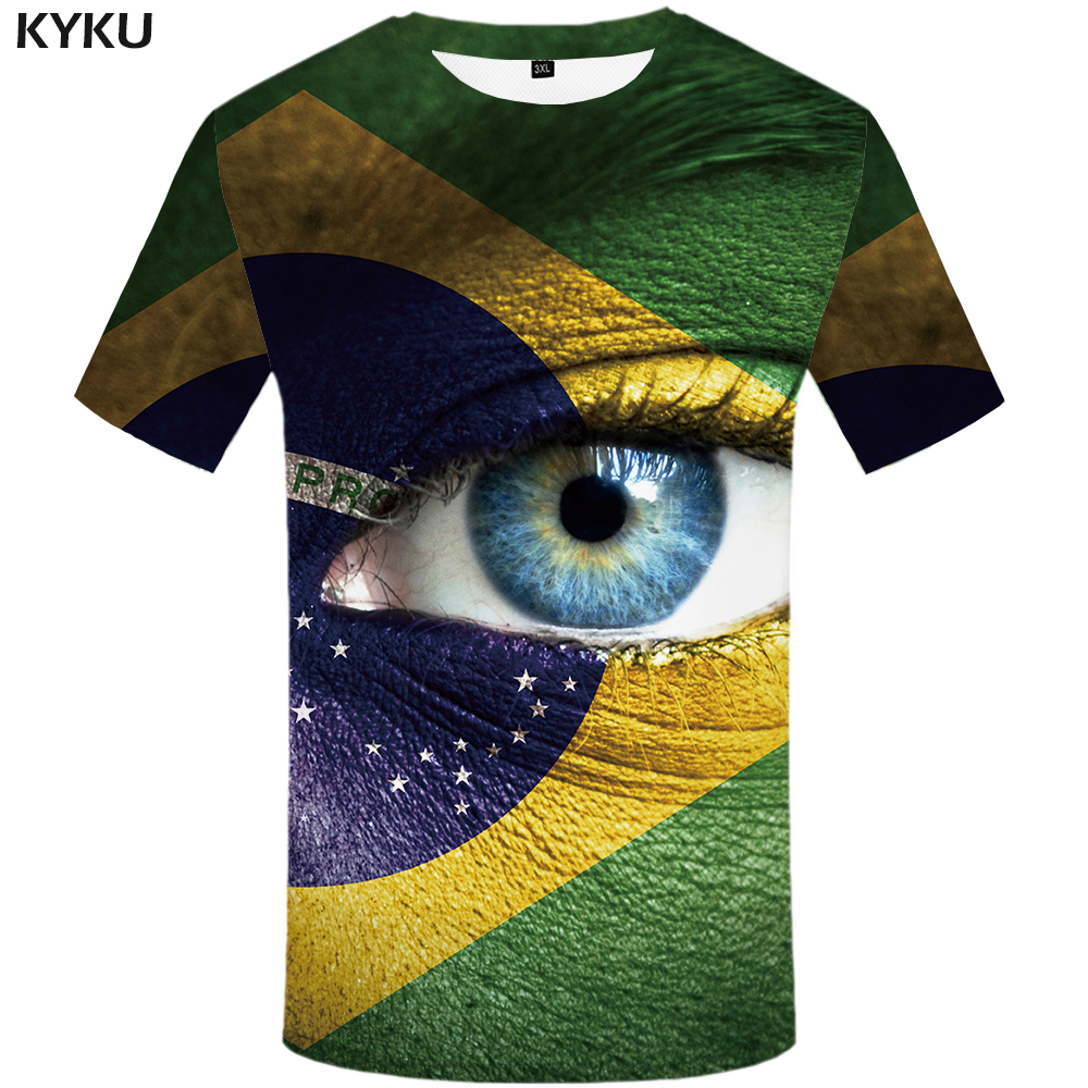 KYKU Brand Eye T shirt Men Brazilian Flag 3d T-shirt Green Punk Rock Colorful Graphic Tee Printed Tshirt Cool Mens Clothing