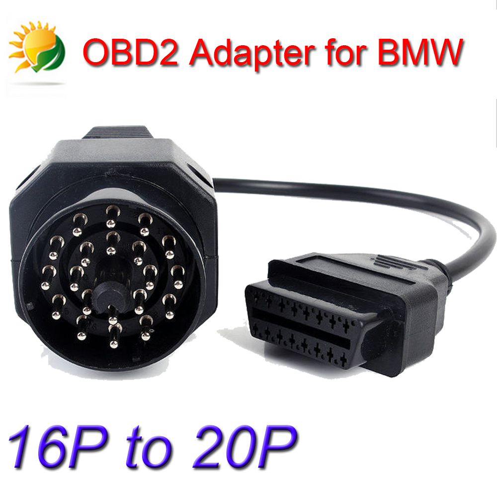 Black VAG 20pin OBD1 to 16pin OBD2 Connector Adapter Cable for BMW E31 E32 E34 E36 Works on BMW with 20 PIN Diagnostic Connector