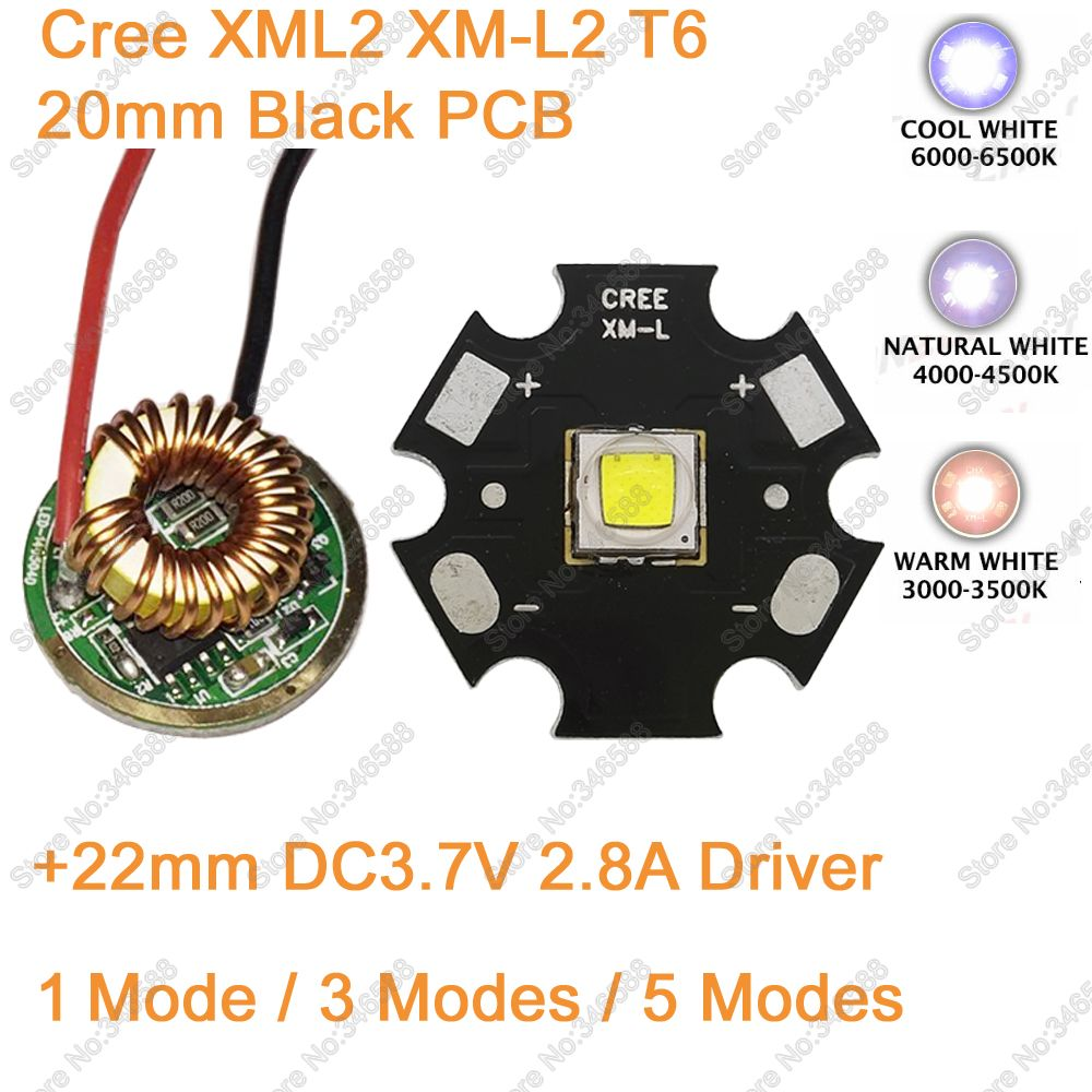 Home original cree xm l2 xml2 led emitter lamp light cold white - 10w Cree Xm L2 T6 Xml2 T6 Led Light 20mm Black Pcb White Warm White