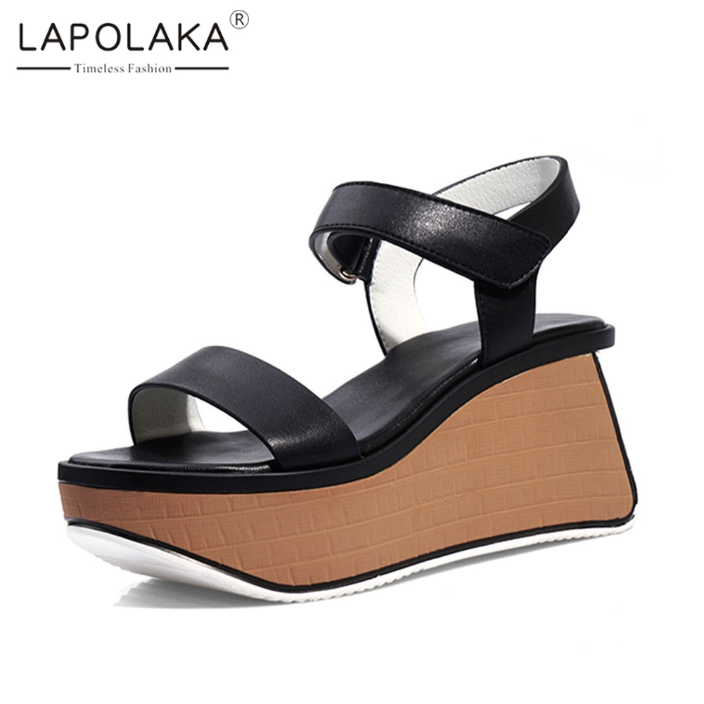 Lapolaka New Fashion INS Hot womens Genuine Leather Ladies Wedges High Heels Shoes Woman Casual Party Summer Sandals 2019Lapolaka New Fashion INS Hot womens Genuine Leather Ladies Wedges High Heels Shoes Woman Casual Party Summer Sandals 2019