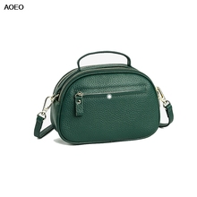 AOEO Women Shoulder Bags handle Mini Genuine Leather Handbag Double Zipper Ladies Messenger Bag Small Cowhide Girl