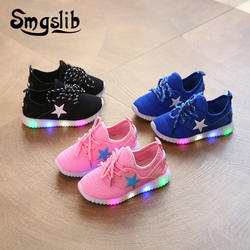 Обувь для мальчиков детей спортивная светодио дный LED Лоферы со светом дети светящиеся 2019 весна осень девочек красочные огни мод