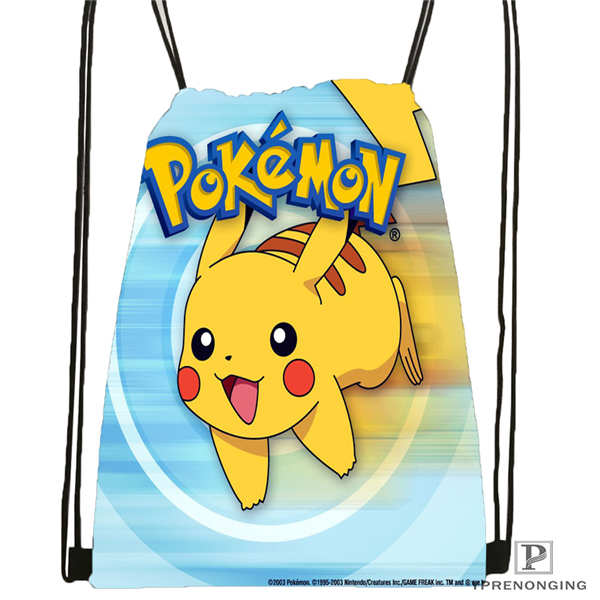 Custom Pikachu-and-Friends-under-the-sea- Drawstring Backpack Bag Cute Daypack Kids Satchel (Black Back) 31x40cm#20180611-02-97