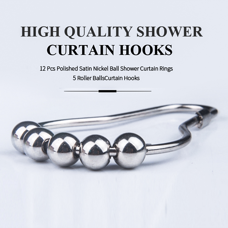 High Quality Shower Curtain Hooks 12 Pcs Polished Satin Nickel Ball Shower Curtain Rings 5