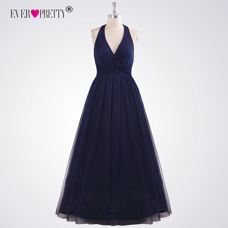 Ladies Evening Gown Ever Pretty EZ07589NB Simple Long Halter V-Neck Navy Blue Evening Dresses Floor-Length Sleeveless Party Gown