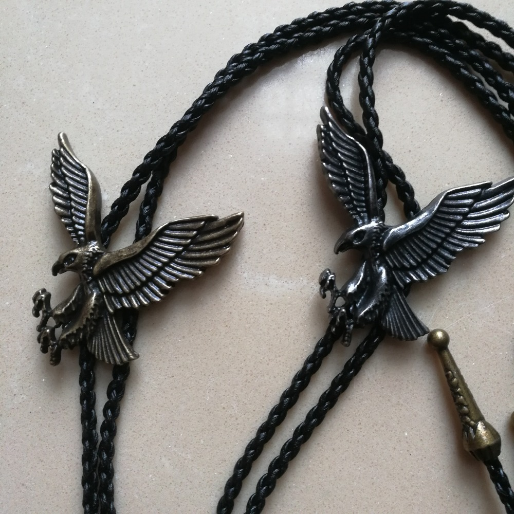 New  Bolo Tie  Retro Shirt Chain Eagle Bollow Collar Leather Necklace Long Tie Pendant