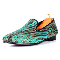 Harpelunde Hot Sell Men Shoes Animal Print Driving Loafers Green Flat Shoes Free Shipping Size 7