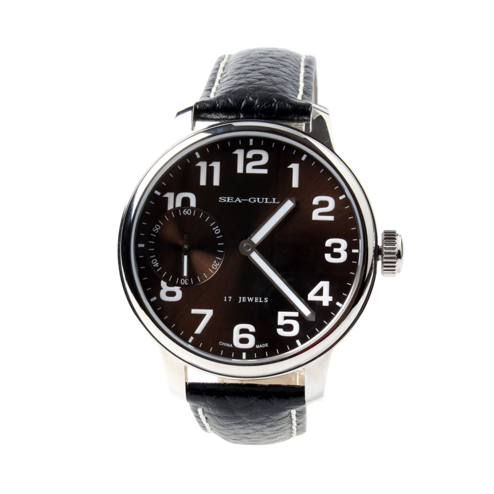 Seagull Genuine Leather Band PVD With Stainless Steel Coffee Dial White Numerals Mechanical Men's Watch Sea-gull M222S
