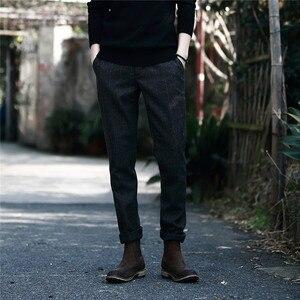 Image 4 - Мужские Винтажные брюки в британском стиле, клетчатые шерстяные брюки, облегающие плотные теплые шерстяные повседневные брюки, A5096