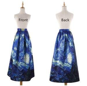 Image 3 - נשים חצאיות מקסי שמי זרועי הכוכבים ואן גוך ציור שמן 3D הדפסה דיגיטלית חצאית טוטו רוקבילי רטרו גבוה מותן חצאית עלים SP003
