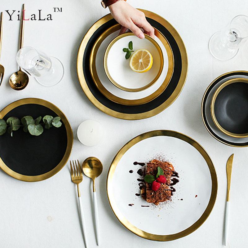 Yilala Plate Ceramic Dinner Dishes Elegant Tableware 10