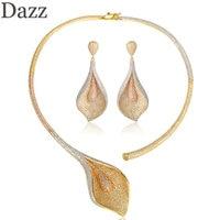 Dazz new luxury leaves shape necklace earrings jewelry set copper zircon pendant women wedding banquet party elegant accessories