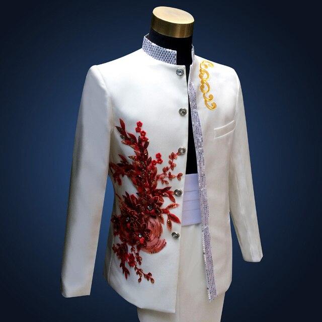Hombres de la manera Adelgazan Casual Blanco Trajes de Estilo Chino Masculino Bordado Lentejuelas Collar Del Soporte Host Blazers Boda (Jacket + Pants)